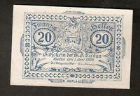 Austria Gutschein d. Marktgemeinde RIEDAU 20 heller 1920 Austrian Notgeld