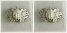 TWO AGED FINISH DIMENSIONAL ELEPHANT HEAD BUST GLASS PLAQUE WALL ART AFRICAN