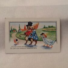 Vintage Easter Postcard Fantasy Humanized Dressed Bunny Rabbits Whitney