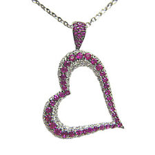 PINK SAPPHIRE ROUND SHAPE DIAMOND ROUND BR SHAPE HEART PENDANT INCLUDED CHAIN