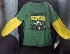 NEW John Deere Green Yellow Layered Sleeve Will Trade Sister for Tractor 6