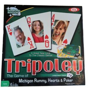Tripoley Diamond Edition Rummy Game Rotating Turntable Cards Chips