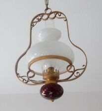 Messing Deckenlampe mit Milchglas Schirm und Steinkugel, ca. 40 x 30 cm