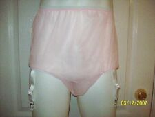 PINK Sheer Nylon * 2 FULL LAYERS * SLEEVE PANTY * STOCKING GARTERS * 28-40 Waist