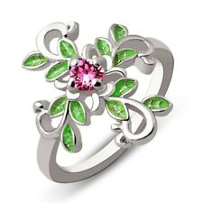 Women Fashion Jewelry 925 Silver Ring Pink Sapphire Leaf Engagement Party Size 9