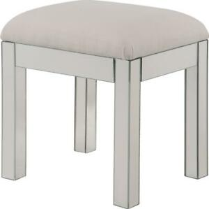 DRESSING STOOL CONTEMPORARY CLEAR SILVER MIRROR SOLID WOOD MIRRORS
