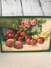 """Vintage Litho USA Print 5"""" x 3.5"""" Framed Strawberries, Cherries, Roses, Banana"""