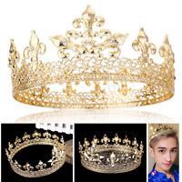 Men's King Crown Imperial Medieval Fleur De Lis Wedding Full Circle Round Tiara