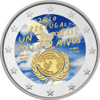 2 Euro Gedenkmünze Portugal 2020 coloriert  mit Farbe / Farbmünze UNO 1