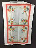 2 vintage tea towels make a 46 x 32 size tablecloth orange kitchen pot onion