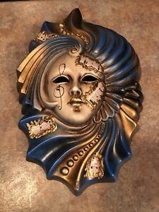 Venetian Music Art Porcelain/Ceramic Hand Crafted Wall Masks Blue/Pink/Gold
