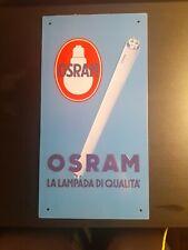 Targa insegna pubblicitaria in metallo latta vintage da collezione OSRAM