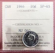 Scarce 1946 Canada Silver 10 Cent Dime Coin - ICCS Specimen SP-65