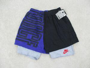 NEW VINTAGE Nike Shorts Adult Large Black Purple Force Swoosh Mens 90s