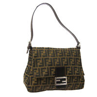 FENDI Mamma Baguette Hand Bag Purse Brown Canvas Leather Authentic R11743
