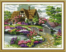 DIY Counted Cross Stitch Kit Handmade Home Decor Countryside Flower Painting