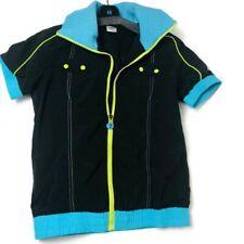 Zumba Jacket Short Sleeve Zipper Black and Teal