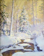 Oil painting At Sunrise winter snow landscape with stream free shipping forest