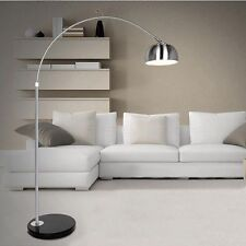 Retro Style Standard Lamp Silver Chrome Black Marble Base Floor Lamp Arco Design