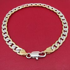 Real 18ct Yellow White Gold GF Curb Ring Links Womens Mens Solid Bracelet Bangle