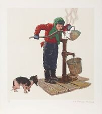 Norman Rockwell, Winter Morning, Lithograph on Arches Paper, Gold-Embossed Signa