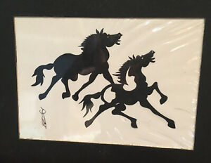 VTG Hou-tien Cheng paper cutting horse, Cheng signed matted art,horse art