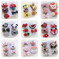 5Pcs/set Kids Infant Baby Girl Hair Clip Bow Flower Cartoon Hairclip Hairpin New