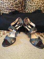 Jimmy Choo Lottie Gunmetal Silver Glitter Open Toe Ankle Sandal Heel Shoes 40.5