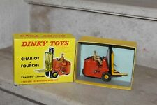 Dinky Toys 597 - COVENTRY Climax chariot à fourches, Orange/Jaune avec boite