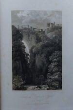 ITALIA.TIVOLI, CASCADE AND TEMPLE OF SYBIL. GRABADO ORIGINAL DE HAKEWILL, 1820