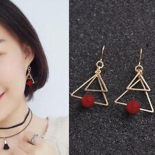 Fashion Two Geometric Drop Earrings Simple Red Dangle Earrings for Women boucle