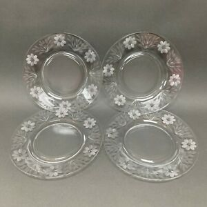 """Etched Flowers Floral Clear Glass Salad Plates 8 1/2"""" Lot of 4"""