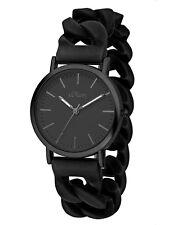 s.Oliver Uhr SO-3264-PQ Damenuhr analog Silikonband im Ketten-Look schwarz Neu
