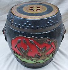 """Big 17"""" Antique Chinese Carved Wood Container Painted Black, Gold, Red & Green"""