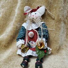 "Vintage Ragdoll Cat Christmas Holiday Ornament with Bells and Buttons 6"" Tall"