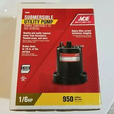 Ace Submersible Utility Water Pump, 1/6 Hp. 950 gph