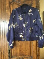 Romeo & Juliet Couture Navy Embroidered Bomber Jacket Size Medium