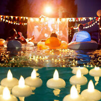24 x Waterproof LED Floating Tea Light Flameless Candle Wedding Party Warm White