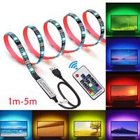 5V USB 5M LED Strip Lights TV Backlight 5050 RGB Color Change Beauty Bright lamp