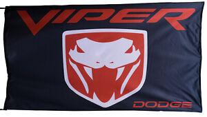 DODGE-FLAG VIPER BLACK BANNER LANDSCAPE 5 X 3 FT 150 X 90 CM