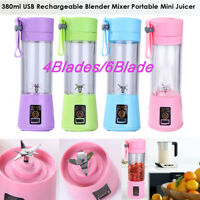 Portable Electric Blender USB Juicer Cup Fruit Mixing Machine Rechargeable 380ML