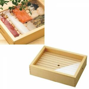 Yamako Wooden Sushi Topping Container Large with Tray Acrylic Lid FastShip Japan
