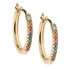 Orelia Gold Hoop Huggies Earrings with Rainbow Cubic Zirconia crystals, gift bag