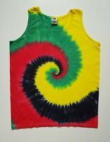 Tie Dye Mens Vest Tank Top Hippie Beach Party Festival Stag Surf Rasta Reggae