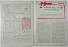 1933 old Philips Motor Map of England Wales & Southern Scotland in 8 sections
