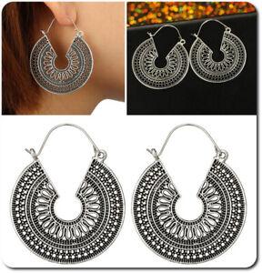 Earrings Hoop Gipsy Hippie Design Mandala Middle Eastern Silver Plated