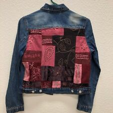 Joann Fabrics Juniors Medium Jean Jacket patchwork quilt embellishments back