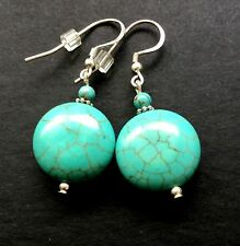 Turquoise Flat Round Dangle Sterling Silver Earrings .Handmade
