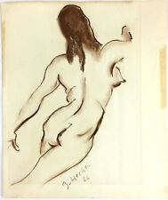 Zoltan Hecht 1966 Signed Nude Woman Charcoal Sketch