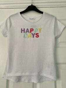 Primark Girls White T-Shirt Top Embroidered 'Happy Days' Age 5-6 6-7 7-8 Years
